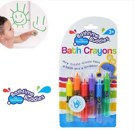 (GonPi |Bath Toys | 1 Pack 6 Colors Bath time Buddies Brand Baby Bath Crayons Toys/Kids Child Colorful Crayons Erased Easily for Bath Drawing Toys)