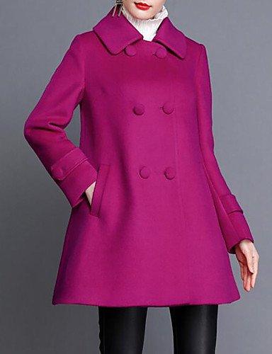 女性と 039 ; sプラスサイズのカジュアルな日常の簡単な秋冬のコート、ソリッドシャツカラー長袖ロングコットンアクリル,用,パープル B077RVGD4P