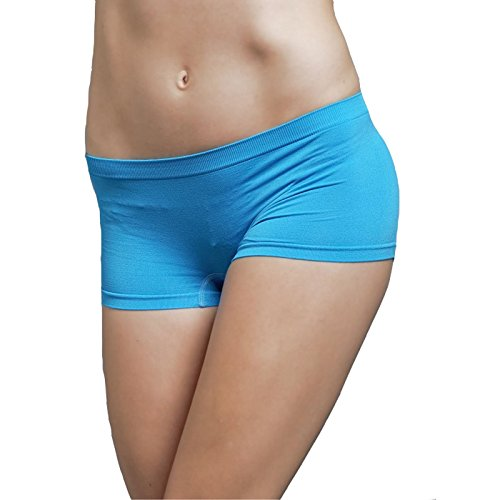 Stretch Seamless Dance Exercise Yoga Mini Panties Boy Shorts Briefs Spankies (Sky Blue) (Pants Spanky)
