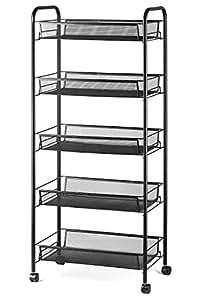 "Halter 5-Tier Rolling Basket Stand, Full Metal Rolling Trolley for Kitchen & Bathroom - Five Tier Storage Cart w/Shelves & Wheels - 40"" X 17.25"" – Black"