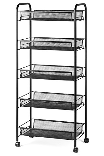 "Halter 5-Tier Rolling Basket Stand, Full Metal Rolling Trolley for Kitchen & Bathroom - Five Tier Storage Cart w/Shelves & Wheels - 40"" X 17.25"" – Black"