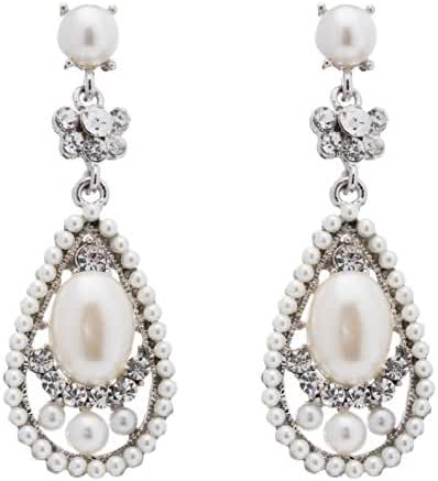 Bridal Wedding Crystal Rhinestone Pearl Teardrop Dangle Earrings Silver Ivory