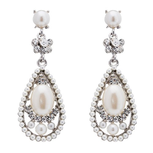 Bridal Wedding Crystal Rhinestone Pearl Teardrop Dangle Earrings Silver - Bridal Pearl Faux Earrings