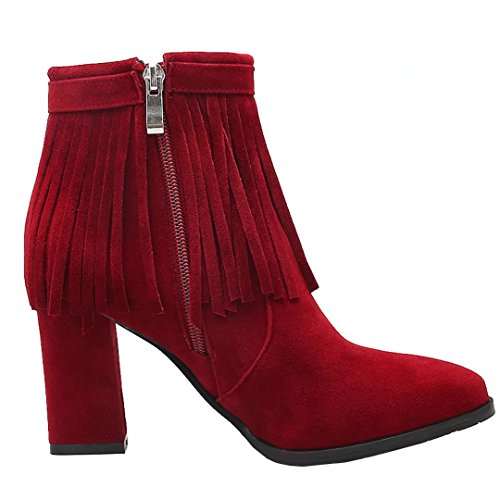 Winter Tassel Ankle AIYOUMEI Autumn with Pointed Zipper Block Boots Heel Buckle Red Womens Toe Bootie qwt8wH