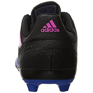 adidas Performance Kids' Ace 17.4 J Firm Ground Soccer Cleat, Black/White/Blue, 3 M US Little Kid