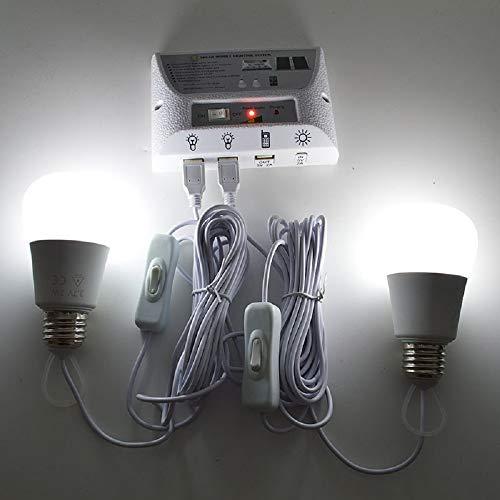 Xinhe Kit de Luces de Panel Solar, Luces solares para el hogar, con Controlador de Interruptor, 2 Bombillas LED, 3 Puertos USB para Interior y Exterior, ...