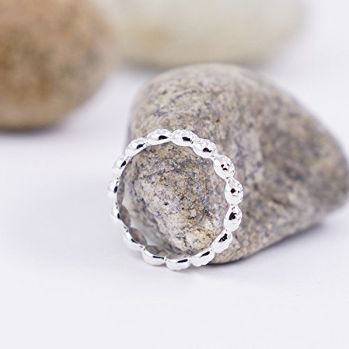 Daisy Ring Size 7.5 Sterling Silver Stackable For Women Dainty Flower Band For Little Girls