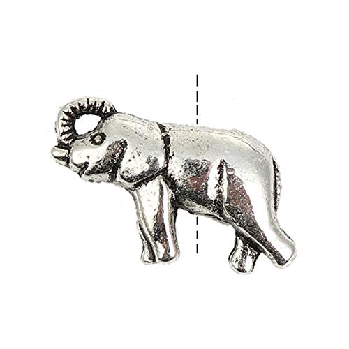 """PEPPERLONELY 30pc Antiqued Silver Alloy 3D Elephant Animal Charms Pendants 18 x11mm(6/8"""" x 3/8"""")"""