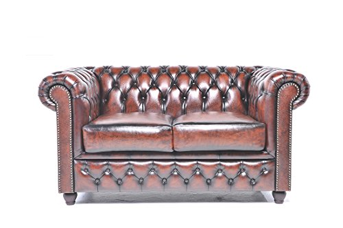 (The Chesterfield Brand - 2 Seater Antique Brown Sofa - Full Real Leather)