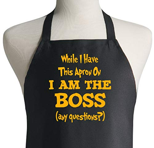 I Am The Boss Funny Novelty Black Aprons For Cooking - Kitchen Apron Sayings