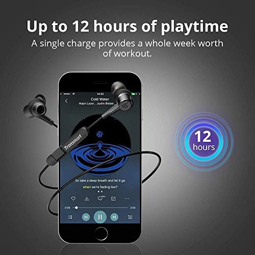 Bluetooth Headphones Tronsmart Wireless Sports Earphones Bluetooth 4.1 Sports Earbuds in Ear AptX 12 Hours Playtime IP56 Sweatproof Noise Cancelling Magnetic Headsets with Mic