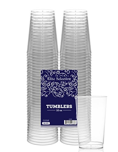 Elite Selection 10 Oz. Pack Of 50 Clear Hard Disposable Party Plastic Tumblers/Cups