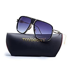 Gold Metal Frame Sunglasses for Men Square Shaped Brand Design Classical Eyewear