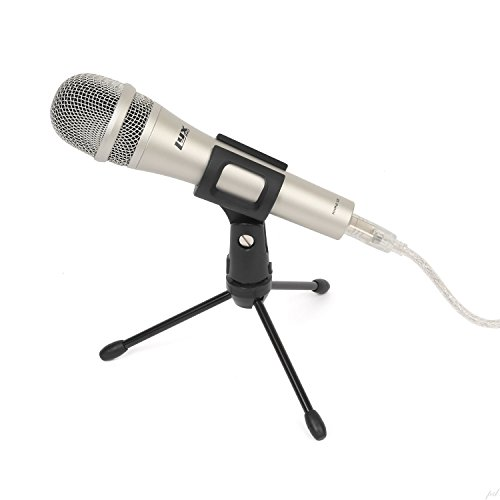 (LyxPro HHMU-10 Cardioid Dynamic USB Microphone for Home Recording, Voice Over & Podcasting, Includes Desktop Tripod Stand & USB Cable)