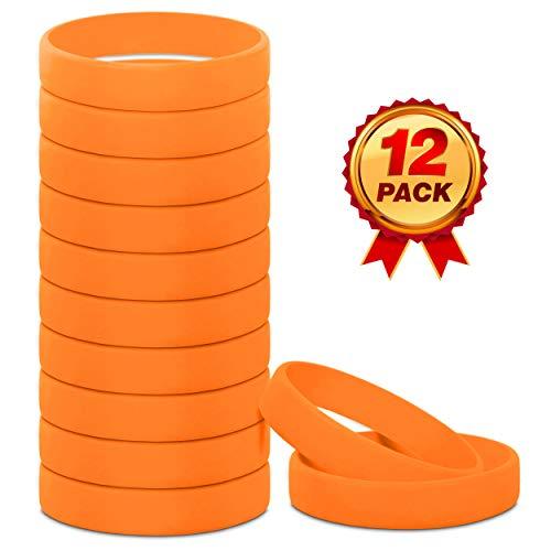 (Go Party USA Orange Rubber Bracelets | Orange Wrist Bands | Orange Rubber Bands | Orange Wristbands | Orange Silicone | Orange Bracelet (Adult))