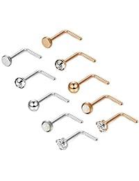 Orazio 10PCS 18G 316L Stainless Steel Nose Stud Rings L-Shape Labret Nose Studs Bone CZ Opal Piercing Jewelry