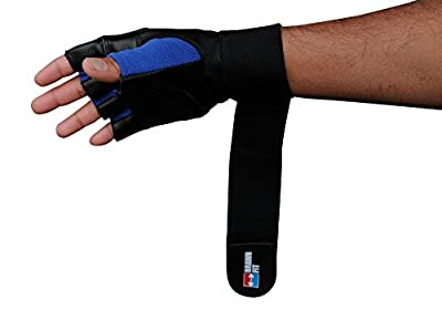 """2-in-1 Real Leather Weightlifting Gloves with 12"""" Integrated Wrist Support Double-Stitched for Men and Women (PINK, PURPLE, RED colors available)"""