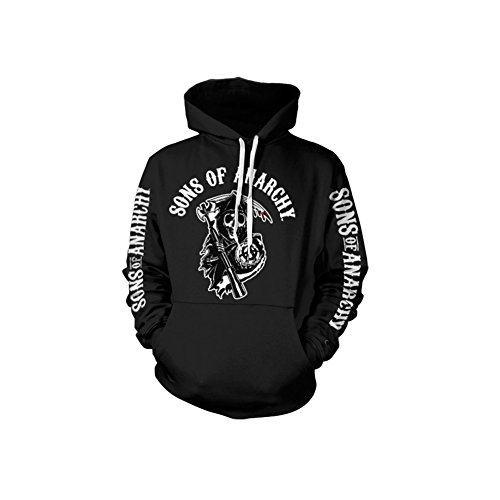 Anarchy Hooded Sweatshirt - Sons Of Anarchy Logo Hoodie (Black), Small