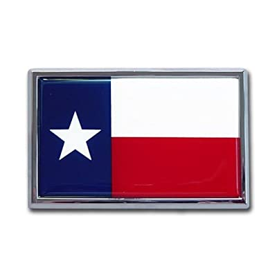 Texas Longhorn Lonestar State Flag SUV Size Premium Chrome Metal Car Truck Motorcycle Longhorns Emblem: Automotive