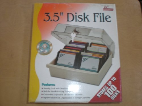 3.5'' Disk Storage Box Data Case Holder - Stores up to 100 Disks! - Disc Diskette PC Storage Data Case Tray File by PC Concepts