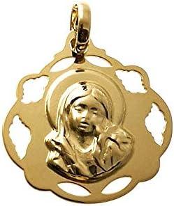 銀メダルペンダントゴールドメッキ20ミリメートル925メートル法。リサ・ヤングヴァージン透かし彫りのフェンスフォーム - カスタマイズ - 料金に含まRECORDING