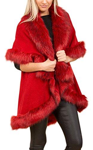 Piel sintética suave de doble capa lana Knit Drape Cape Rosso
