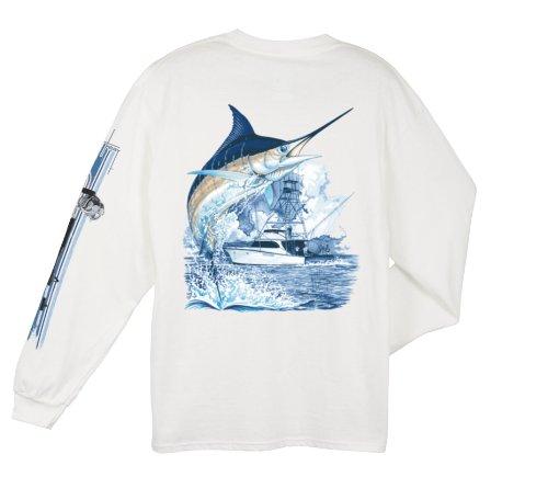 Guy Harvey Men's Marlin Boat Long Sleeve T-Shirt (Marlin Long Sleeve Tee)