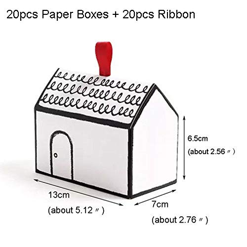 Old street Paper Gift Boxes 20 Sets White House Shape Gift Package Cake Candy Box with Red Ribbon Wedding Favors and Gifts Box Party Supply,No Tags1]()