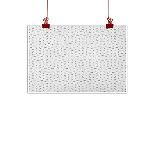 Artwork Office Home Decoration Grey and White,Geometric Diamond Shaped Mosaic Motif Digital Artistic Minimalist Display, Grey White 36