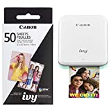 Canon Ivy Wireless Color Photo Printer, Mint Green and 50-Sheets Zink Photo Paper