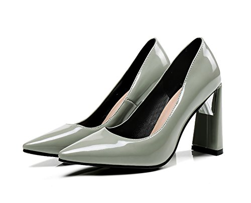 Pumps Aisun Lack Kunstleder Klassisch Top Business Damen Low Grau Blockabsatz Spitze ZrpZRxzwq
