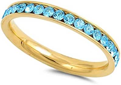 Yelllow Gold Plated Simulated Aquamarine Band Stainless Steel Ring Sizes 4-10
