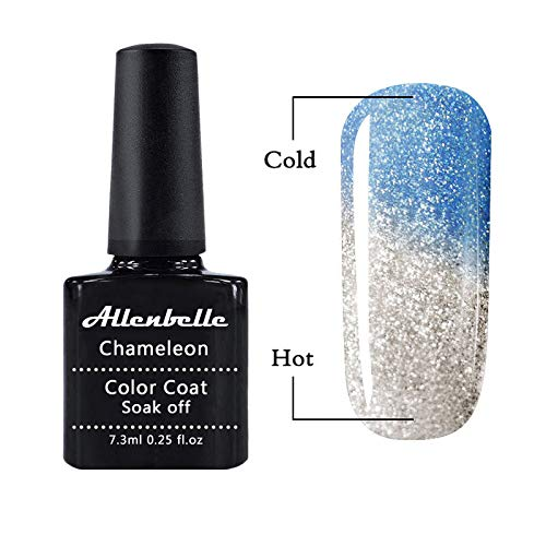 Allenbelle Gel Nail Polish Chameleon Thermic Varnish Semi Permanent Soak Off UV LED Temperature Color Changing Gel Polish 5746