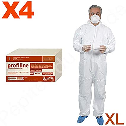 Combinación protección integral desechable cierre Zip Talla XL – Juego 4 Combinaisons protección pdm-pfi03