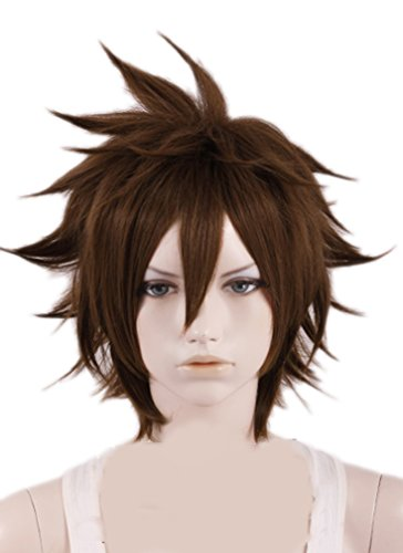Xcoser Sora Wig Kingdom Hearts Cosplay Brown Short Wig Hair Cosplay Accessories Halloween Party