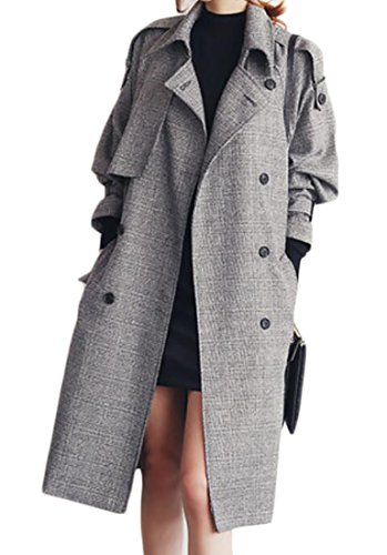 Belted Mid Length Coat - MLG Womens Classic Double Breasted Loose Mid-Length Belted Trench Coat Grey US XL