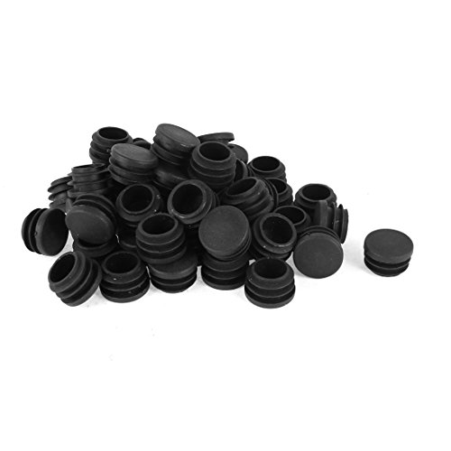 uxcell Round Blanking End Caps Tubing Tube Inserts 28mm Dia 50 Pcs Black
