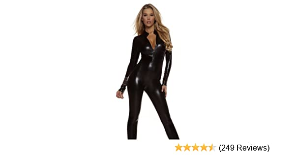 5375f9d983e Amazon.com  Forplay Women s Metallic Zip Front Mock Neck Catsuit ...