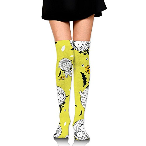 Halloween Mummy Cartoon Women's Knee Leg Long Socks Warmers Cotton Boot Socks Print High -