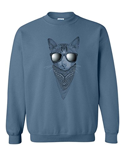 Cat Sunglasses Bandana Animal Lover Crewneck Sweatshirt Indigo Blue - Grumpy Sunglasses Cat