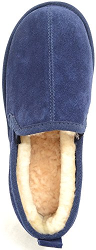 Mens Luxury Sheepskin Slipper with Light Weight Suede Sole Navy FFKxhJU