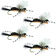 The Fly Fishing Place Hippie Stomper Black Tan Foam Body Trout Bass Dry Fly Fishing Flies - Set of 4 Hook Size