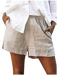 Mfacisa Womens sólidos Bolsillos Cintura Elastica Pantalones Cortos Ropa de Cama de algodón