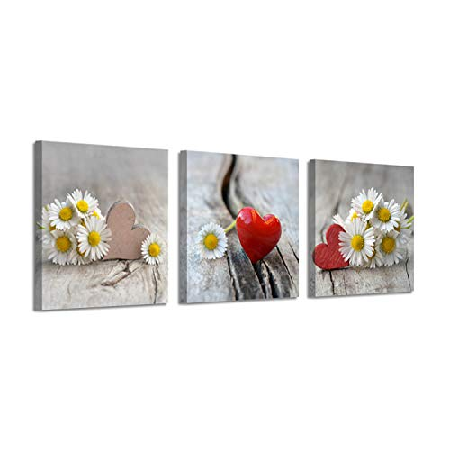 Floral Artwork Flower Picture Print: Daisies & Red Heart Graphic Art on Canvas ()
