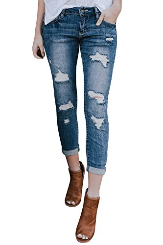 Gemijack Womens Ripped Jeans Skinny Boyfriend Distressed Blue Destroyed Cropped Denim Pants