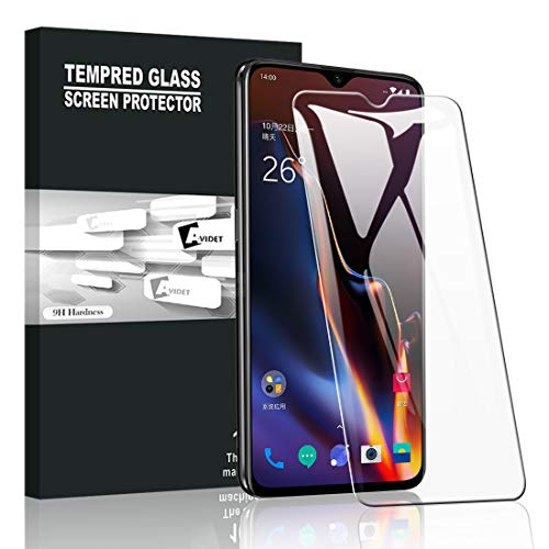 AVIDET Oneplus 6T Screen Protector, [Anti-Scratch][Bubble Free] 9H Hardness 0.3mm Ultra Slim Premium Tempered Glass Screen Protector Oneplus 6T