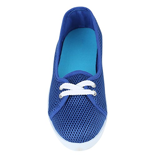 Blau Damen Flandell Lochung Sportliche Ballerinas Stiefelparadies Basic PBvnXqBd