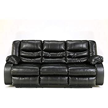 Signature Design by Ashley Linebacker DuraBlend Collection Reclining Sofa, Black