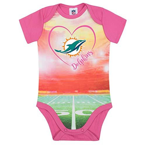 NFL Miami Dolphins Baby-Girls Short-Sleeve Bodysuit, Pink, 0-3 Months