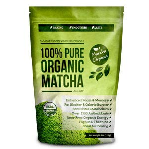 Matcha Green Tea Powder All Natural Weight Loss Metabolism Booster and Diet Smoothie Shake Mix and Fat Burning Supplement 113 Grams USDA Organic Culinary (Best Organic Green Tea For Weight Loss)